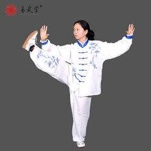 yiwutang chinese kung fu uniform and tai chi clothing linen wu shu suits blue embroidery