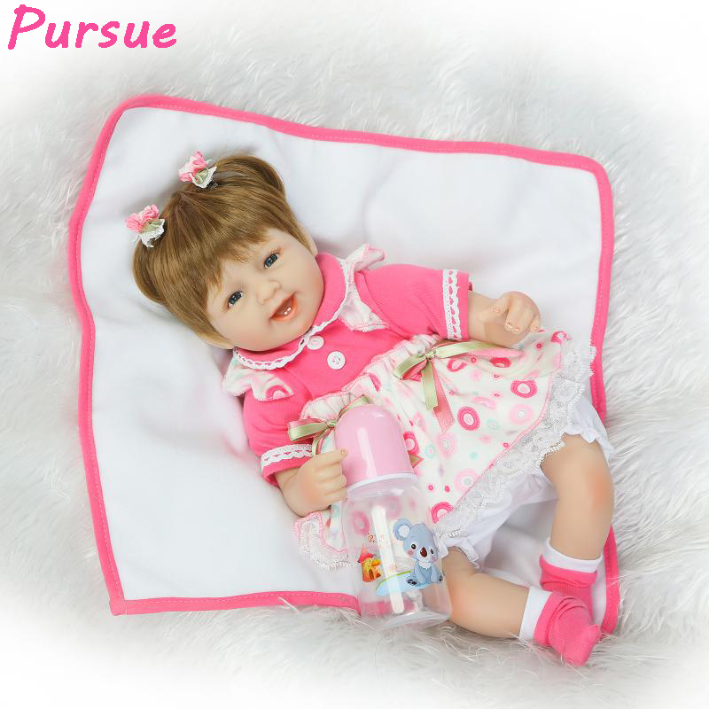 ФОТО Pursue 17 inch Cute American Girl Reborn Baby Dolls for Girls Reborn Babies Real Baby Adora doll boneca baby alive para meninas