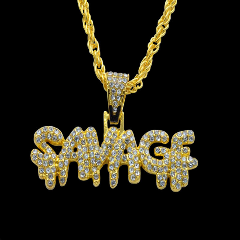 Hip Hop Necklace Brass Gold Color Iced Out Chains Micro Pave Cubic Zircon SAVAGE Pendant Necklace Charm For Men Gifts