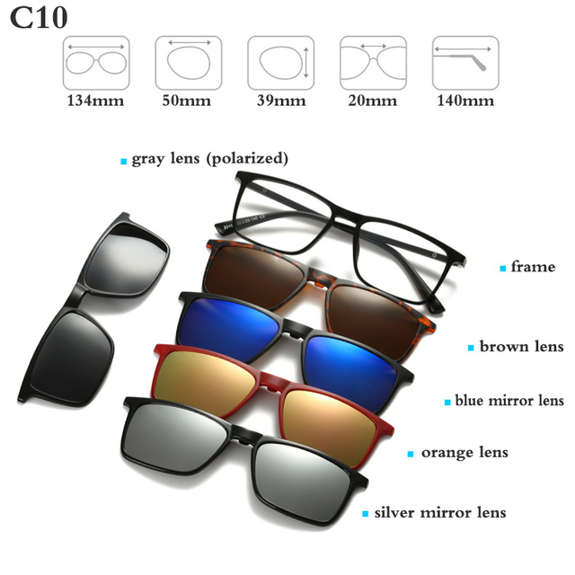 Fashion Optical Spectacle Frame Men Women With 5 Clip On Sunglasses Polarized Magnetic Glasses For Male Myopia Eyeglasses RS159 5
