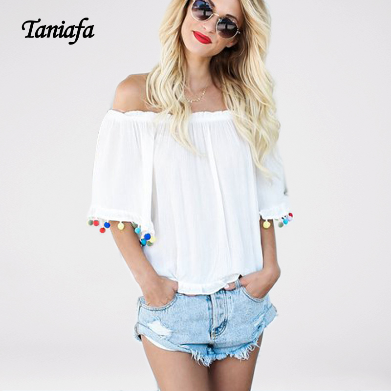 Women Off Shoulder Tops New arrival Summer Fashion Trend T shirts Solid Women s Top Brief