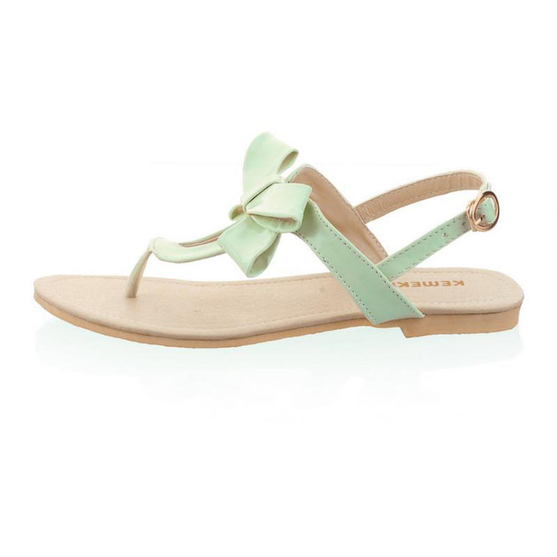 94763dc47c0 T Strap Colorful Beach Flat Heel Sandals Shoes Women Summer Sandals Ribbon  Sweet Lady Leisure Shoes Footwear Size 34 43 PA00491-in Low Heels from Shoes  on ...