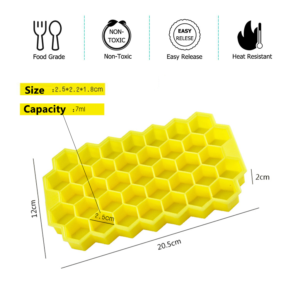 Image 2 - BPA Free Honeycomb Ice Cube Tray 37 Cubes Silicone Ice Cube Maker Mold With Lids For Ice Cream Party Whiskey Cocktail Cold Drink-in Ice Cream Makers from Home & Garden