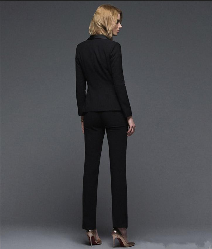 New arrivals Early Autumn New OL Business suits Custom made Black long-sleeved pants suit Pant Suits Jacket+Pants