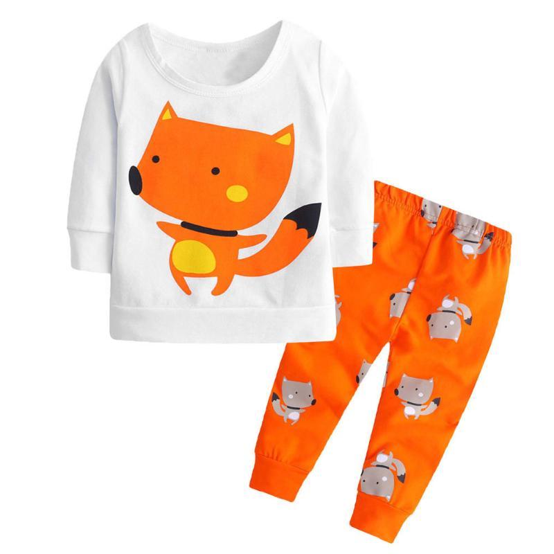 2pcs/set Unisex Baby Kids Warm Cartoon Animal Long Sleeve T-shirt+Pants Set Baby Comfortable Carton Fox Printed Clothes Set