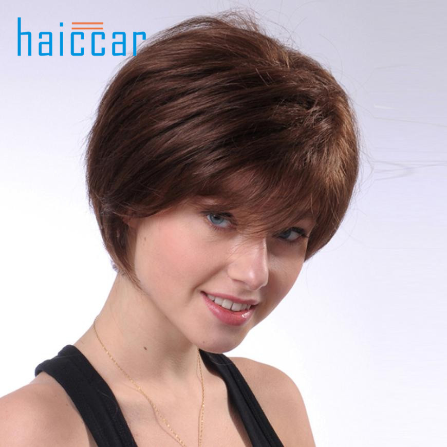Natural Short Wigs for Women Human Hair Wig Short Hair Wig Ju 29 inclined bang short layered straight colormix human hair wig