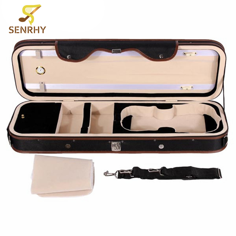 Senrhy 4/4 Violion Box Violin Case with Humidity Table Straps Locks Waterproof For Musical Instruments Lover Violin Parts Hot free shipping 4 4 size 430c pernambuco cello bow high quality ebony frog with shield pattern white hair violin parts accessories