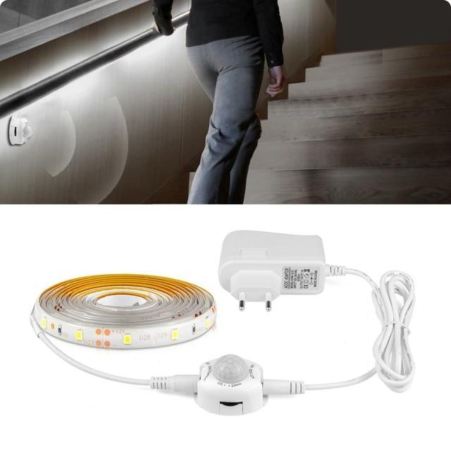 under bed night light waterproof cocina luces led strip motion sensor control kitchen wardrobe 220V 110V to DC 12V power adpter