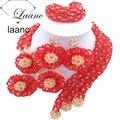 Moda Nupcial da Jóia Do Casamento Nigeriano africano Contas de Cristal Conjunto de Colar Vermelho e Ouro ab laanc AL043