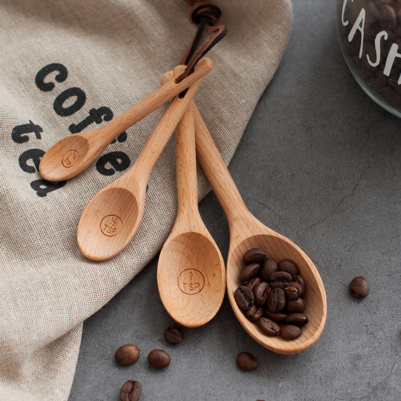 4pcs Wood Measuring Spoon Set High Quality Kitchen Coffee Sugar Spice Spoon Baking Measuring Scoop Cooking Tools Wooden Utensils