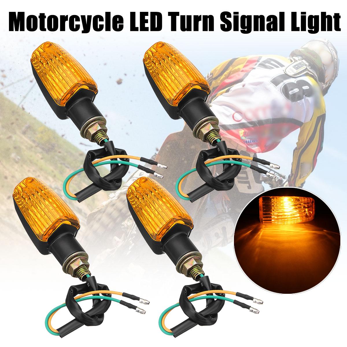 4pcs Universal Motorcycle Mini Turn Signal Blinker Indicator LED Lights Bulb Amber Yellow Lamps DC 12V For Honda/Suzuki/Yamaha