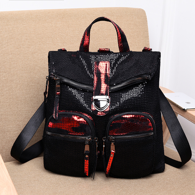 Multifunctional Leather Womens Backpacks Students School Bag Fashion Sequin Shoulder Bags For Women Travel Bag LadiesMultifunctional Leather Womens Backpacks Students School Bag Fashion Sequin Shoulder Bags For Women Travel Bag Ladies