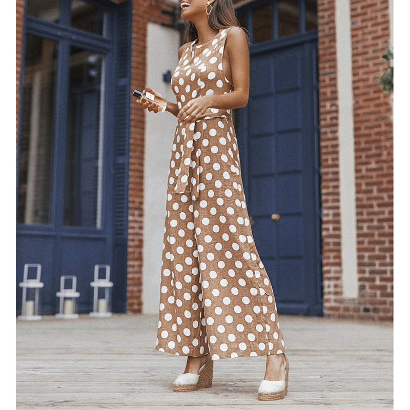 Women Strap Printed Polka Dot Belted Jumpsuit Casual Party Wide Leg Long Summer Sexy Sleeveless Female Rompers WS9923E