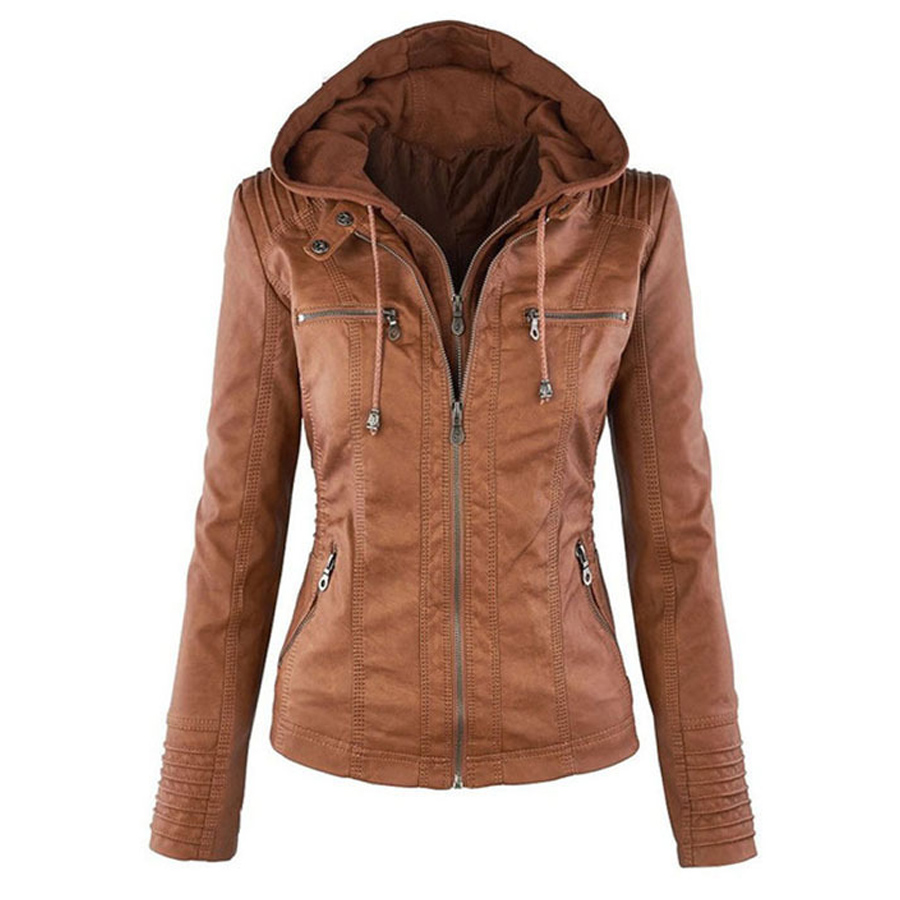New Fashion Style Women Casual Wear PU Leather Jackets five Colors Hooded Full Sleeve Zipper Fly Solid Female Spring Autumn