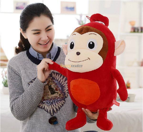 Fancytrader New 31'' / 80cm Big Stuffed Soft Plush Giant Red Sausage Monkey Toy, Nice Baby Gift, Free Shipping FT50805 fancytrader new style fashion banana toy 31 80cm big plush stuffed cute banana birthday gift kids gift free shipping ft90528