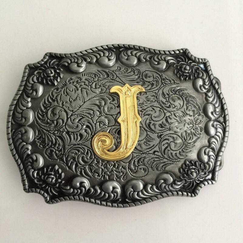 Maloobchodní nový pánský zlatý J počáteční dopisní přezka s kovovým kovbojským koženým opaskem Příslušenství Fit 4cm Wideth Belt