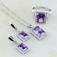 Plac Natural Purpurowy Cyrkon Biały Australijski Kryształ 925 Srebro Kolczyki Ślubne Biżuteria Zestawy Dla Kobiet/Wisiorek/Naszyjnik/pierścień
