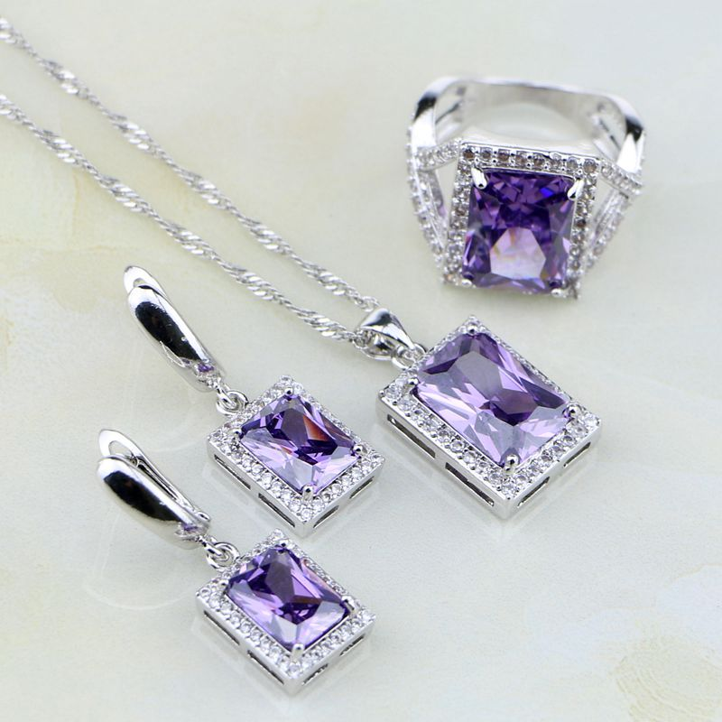 Square Natural Purple Zircon White Australian Crystal 925 Silver Jewelry Sets For Women Wedding Earrings/Pendant/Necklace/Ring