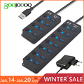 USB Hub 3.0 High Speed 4 / 7 Port USB 3.0 Hub Splitter On/Off Switch with EU/US Power Adapter for MacBook Laptop PC
