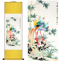 Chinese Silk Watercolor Flower And Birds Bamboo Orchid Peacock Phoenix Ink Art Canvas Wall Picture Damask