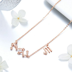 Image 4 - MYBEBOA authentique réel 925 argent Sterling Libr Gemini capricorne scorpion 12 Constellation cristal Taurus pendentif colliers femmes