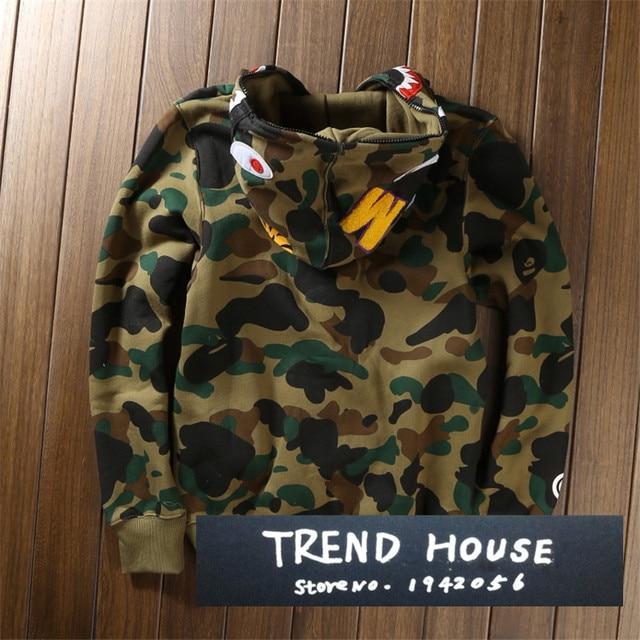 68db9b3df814 High quality Men s full zipper bape shark hoodie camouflage Army Military  fleece hoodies and sweatshirts winter mens camo jacket