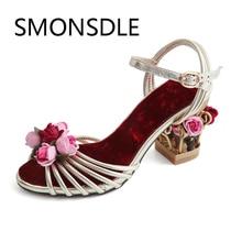 SMONSDLE 2108 Fashion Kulit Asli Kaki Terbuka Wanita Sandal Tali Gesper Sangkar Burung Bunga Med Heels Musim Panas Sepatu Pesta Pernikahan