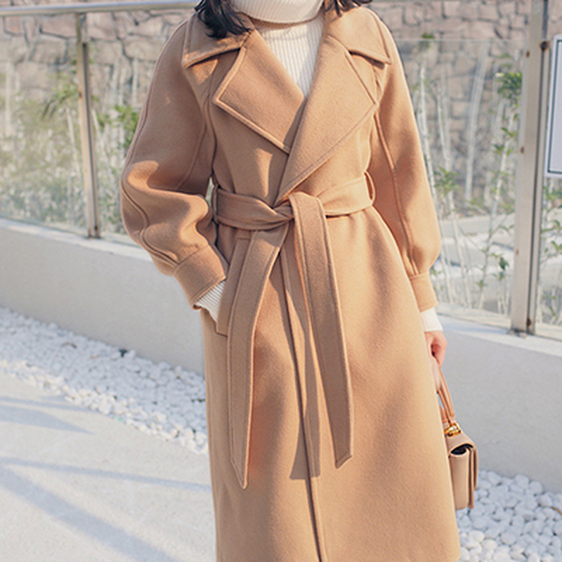 U-SWEAR Loose Warm Wool Blends Long Winter Coat Turn-down Collar Adjustable Belt Wool Coats Women Abrigos Mujer Invierno 2018