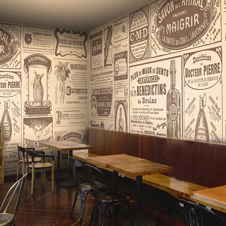 Bar Wallpaper: European Retro Newspaper Photo Wallpaper Coffee Shop Bar