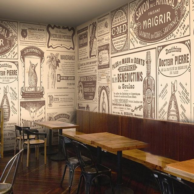 European retro newspaper photo wallpaper coffee shop bar restaurant background wall custom wallpaper mural