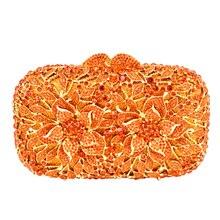 Blumenmuster abendtasche blau luxus kristall orange abend-handtasche gold diamant party geldbeutel silber bankett tasche 88165