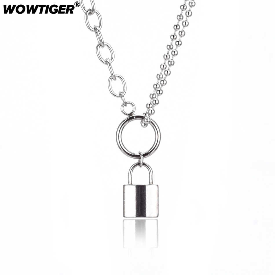 WOWTIGER Woman Stainless Steel Silver Color PadLock Pendant Necklace High quality brand Birthday party gift Necklace women