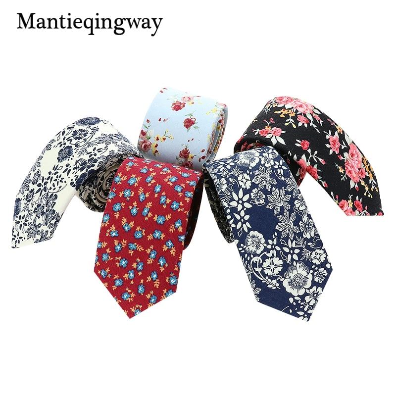 Mantieqingway Vintage moške cvetlične kravate, modre in bele bombažne priložnostne modne kravate za moške poročne zabave cvetlični kravato