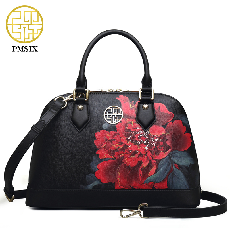 Pmsix Autumn And Winter New Women Leather Bag Flower Printing Black Fashion Shell bag Retro Tote Bag Designer Handbag P120087 brand new autumn winter flower women