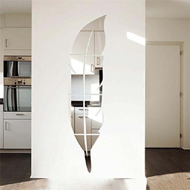 US $3.89 34% OFF|1 Set Silber Abnehmbare Feder Design 3D Dressing Spiegel  mit Starken Aufkleber Hause Dekoration Wohnzimmer DIY Wand Aufkleber in 1  ...