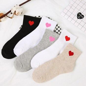 Лето 2017 г. и aumtum сезон новый хлопок Черный и белый цвета серый сердце женские носки удобные дышащие носки