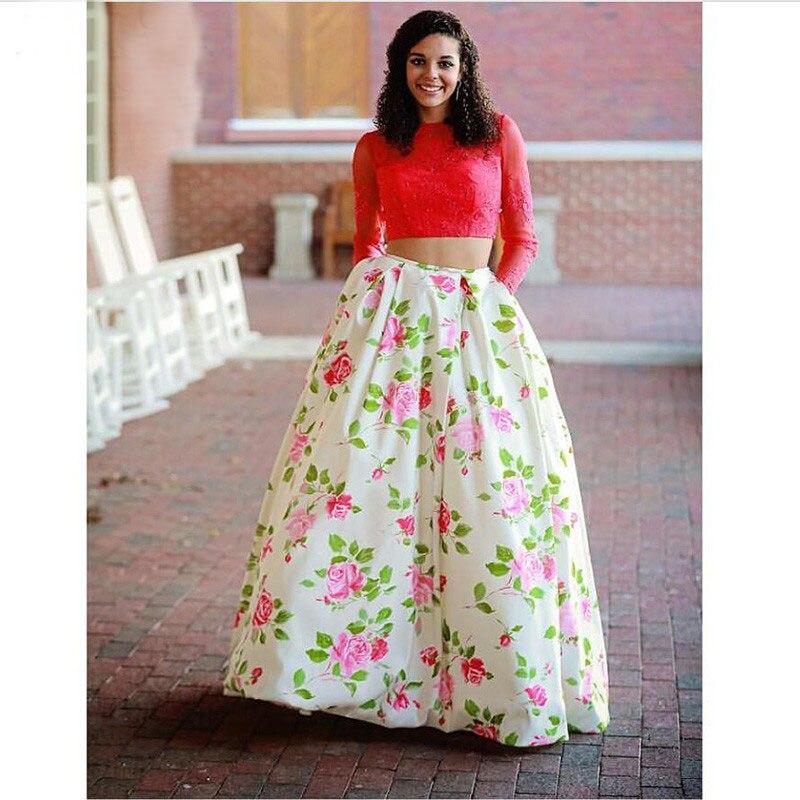 Cristal JIANG 2019 deux pièces Floral robe de bal sur mesure une ligne manches longues robes élégantes longue robe de bal