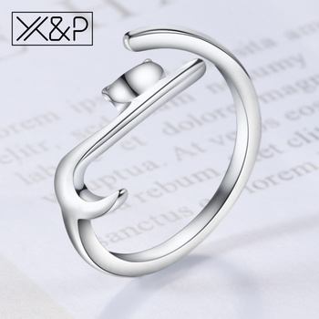 X&P Fashion Korean Cute Romantic Long Tail Silver Sticky Cat Rings for Women Girl Decoration Engagement Adjustable Ring Jewelry