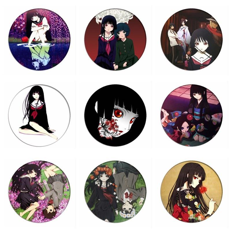 1pcs Japan Anime Hell Girl Cosplay Badge Jigoku Shojo Enma Ai Brooch Pins Collection Bags Badges For Backpacks Clothes