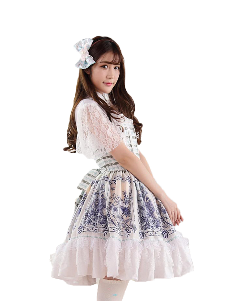 Ainclu Sweet Style Women's Pink Polyester Sweet Cute Alice and Rabbit Princess Printing Lolita Dress alilo g6 cute rabbit style children s english song