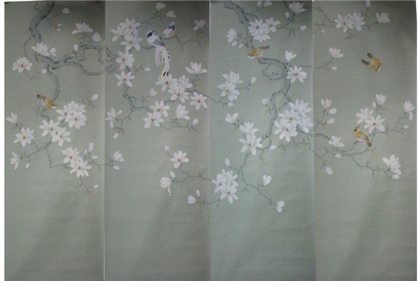 Европейский стиль ручная роспись шелковые обои картина ручной работы Магнолия с птицами шелковые обои наклейки много фотографий на выбор