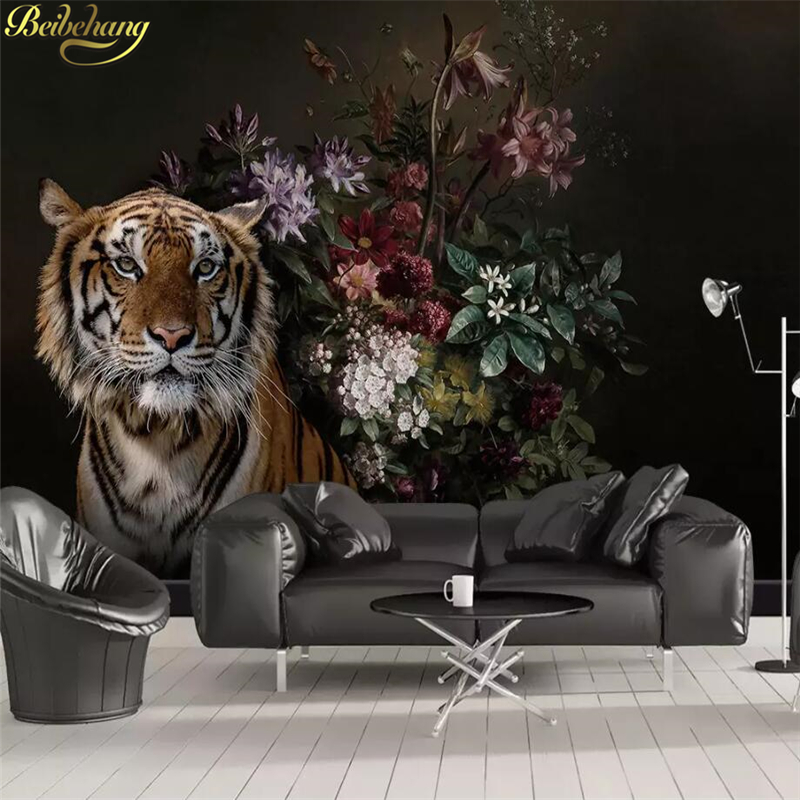 Beibehang Custom Modern Minimalist Lily Tiger Photo Wall Paper Animal Mural Wall Papers Home Decor Wallpaper Living Room Bedroom