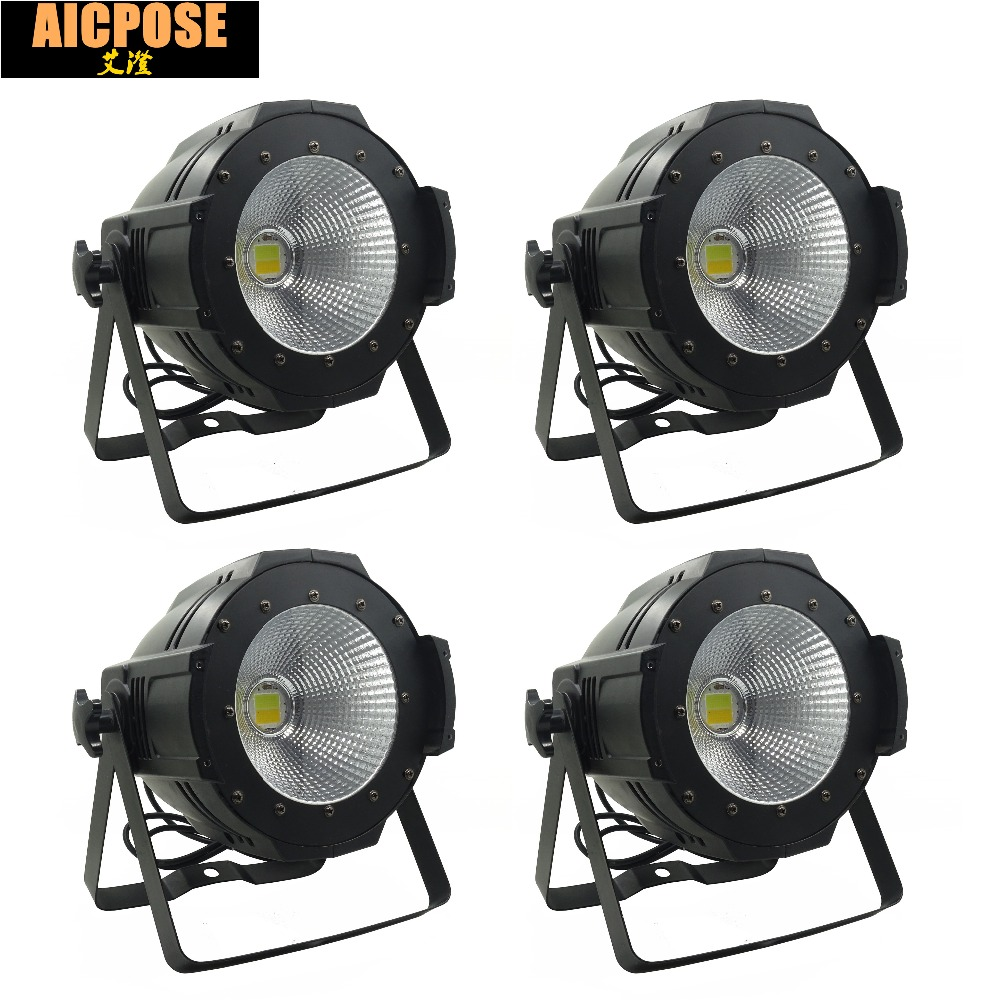 4units  LED Par  COB Light 100W High Power Aluminium DJ DMX Led Beam Wash Strobe Effect Stage Lighting,Cool White and Warm White china stage lighting supplier 100w warm white yellow color aluminum indoor led par light cob lamp source strobe effect projector