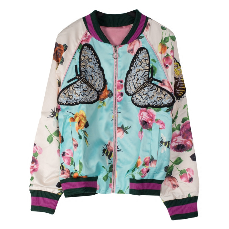 Ky&Q NEW 2017 Runway Women Spring Autumn Coat Long Sleeve Floral Printed Butterfly Embroidery Jacket Casaco Feminino Mujer