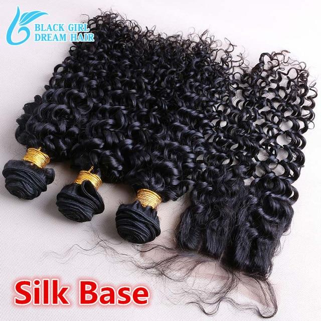 Cheap Peruvian Deep Curly Silk Base Clousre With Bundles ,Peruvian Virgin Hair With Silk Base Closure Bleached Knots