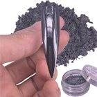 Black Mirror Nail Glitter Powder 0.5g Gun Metal Color Dazzling Shining Chrome Pigment Dust Paillettes Nail Art Decorations