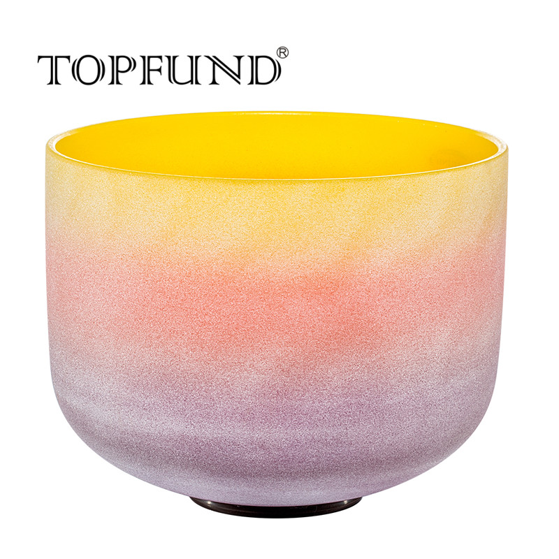 TOPFUND Rainbow Colored E Solar Plexus Chakra Frosted Quartz Crystal Singing Bowl 12,O ring and Mallet included,For Meditation chakra tuned set of 7 frosted gem fused quartz crystal singing bowls 8 12 8a b g 10 c d e and 12 f