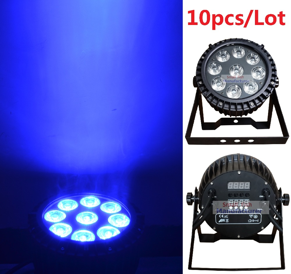 где купить 10x DJ Disco Par Led 9x10W RGBW Stage Light DMX Strobe Flat Luces Discoteca Party Lights Laser Luz Projector Lumiere Controller по лучшей цене