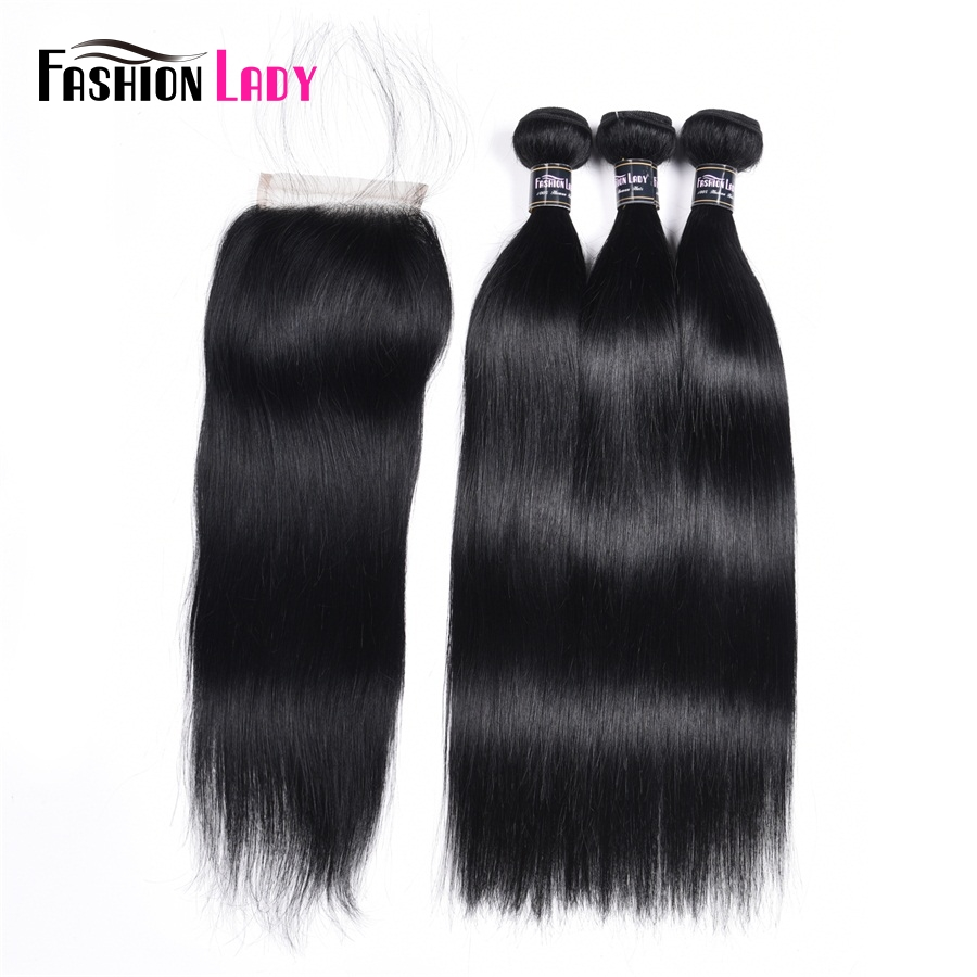 Fashion Lady Pre-Colored 3 Bundles Peruvian Straight Hair With Closure Jet Black Hair Bundles With Closure Free Part Non-Remy