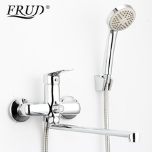 купить FRUD Bathtub Faucet Bathroom Hot and Cold Shower Faucet Chrome Wall Mounted Bath Faucet Waterfall Sink Mixer Taps дешево